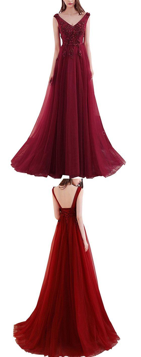 Newest red floorlength vneck back strap beading applique elegant