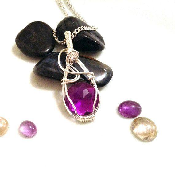 Wire wrapped pendant, purple pendant, acrylic cabochon, silver ...