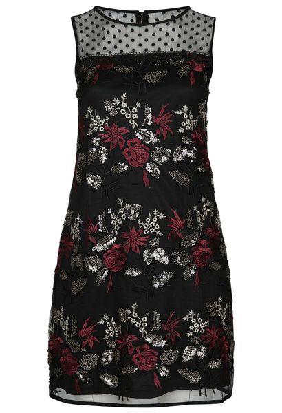 Kleid aus Mesh-Stoff mit Stickerei - Pflaume | Mode große ...