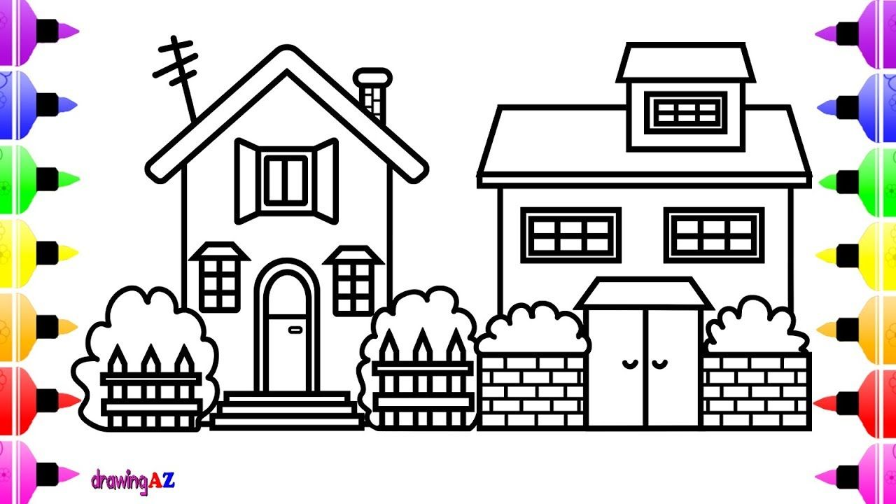 How to Draw Lovely House for Kids House Coloring Page