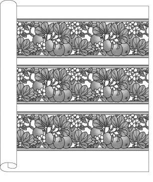Craftsman Style Floral Wallpaper | Apple Blossom Frieze in Sienna