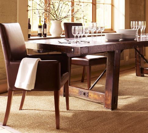 Benchwright Extending Dining Table  Rustic Mahogany Stain Amazing Comfortable Dining Room Sets Design Decoration