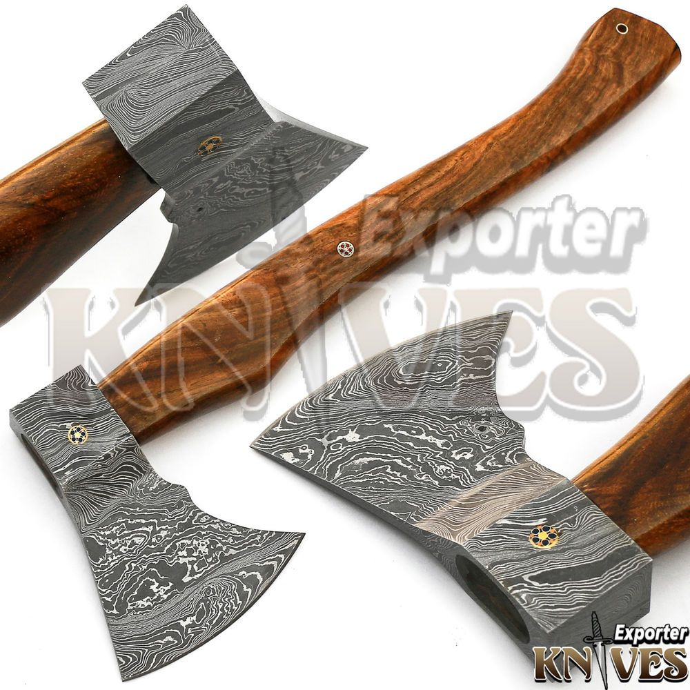 Knives Exporter Custom Hand Made Damascus Steel Bearded Hatchet Axe Head