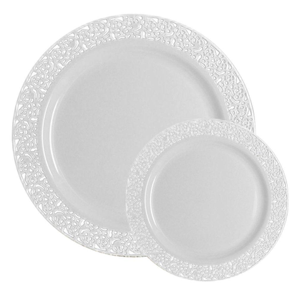 Amazon Com Ttg 50 Piece Plastic Dinnerware Set Lace Collection 25 Dinner Plates 25 Salad Plates Plastic Dinnerware Sets Plastic Dinnerware