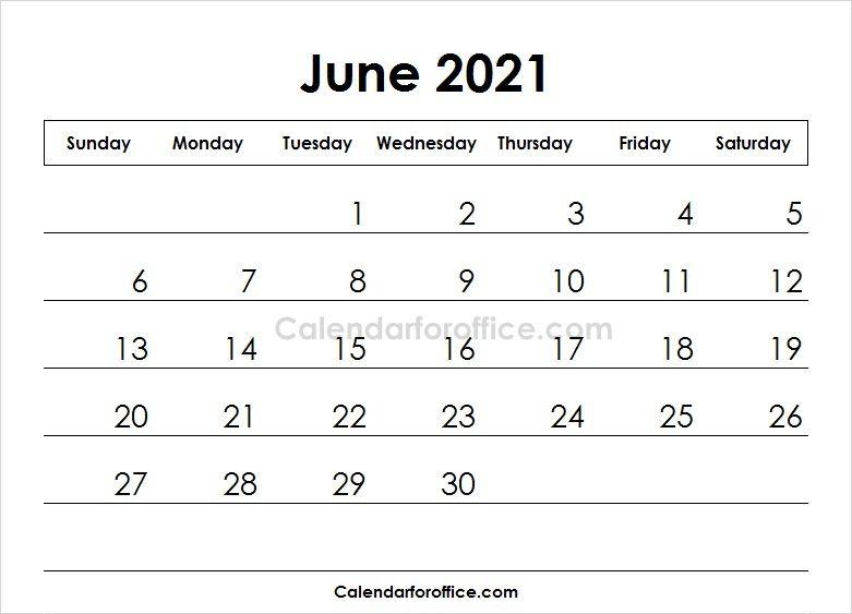 June Calendar 2021 Printable Template Monthly Calendar Template