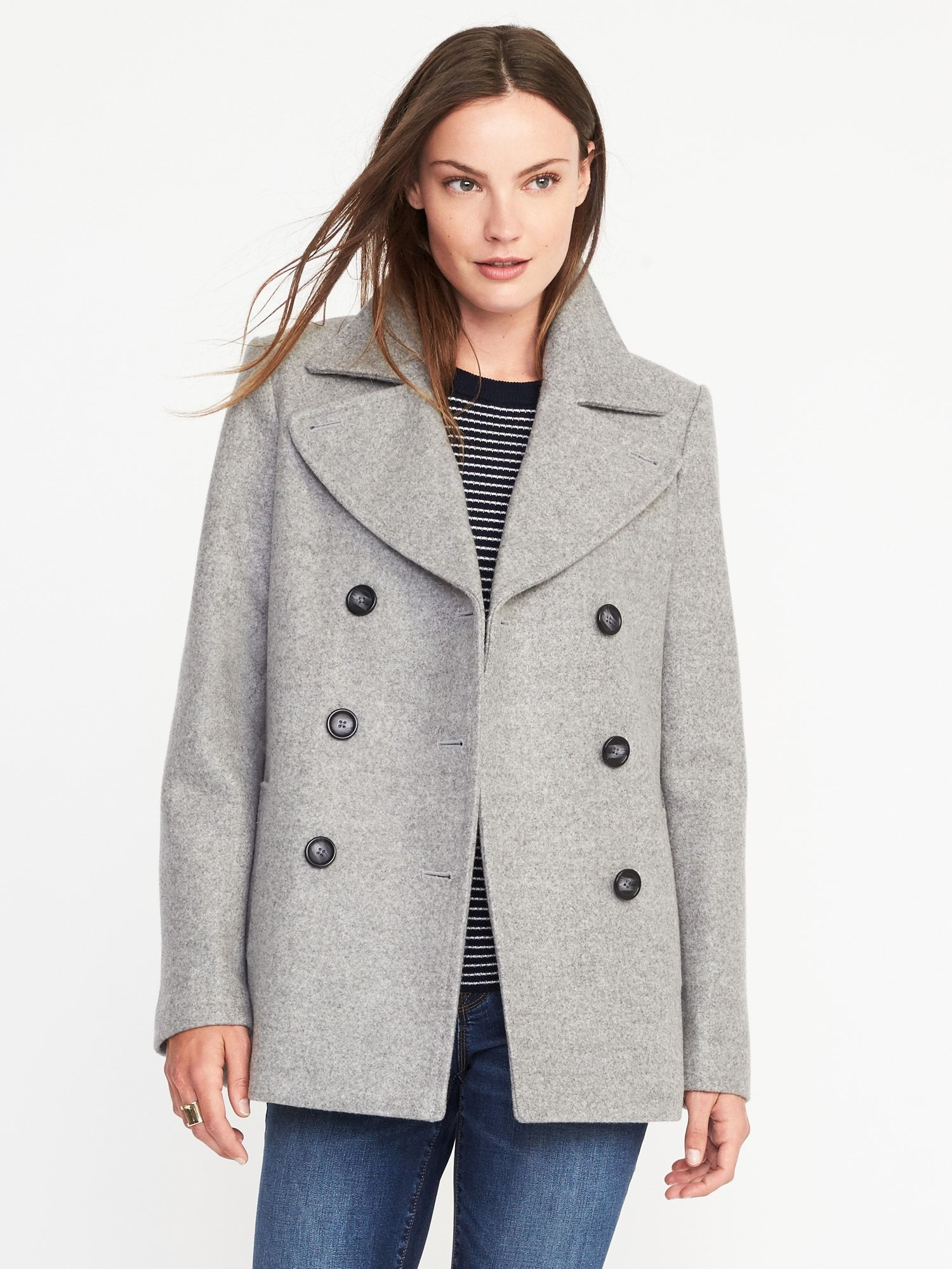 6454aa5775b9 Size Small in Gray. Classic Wool-Blend Peacoat for Women