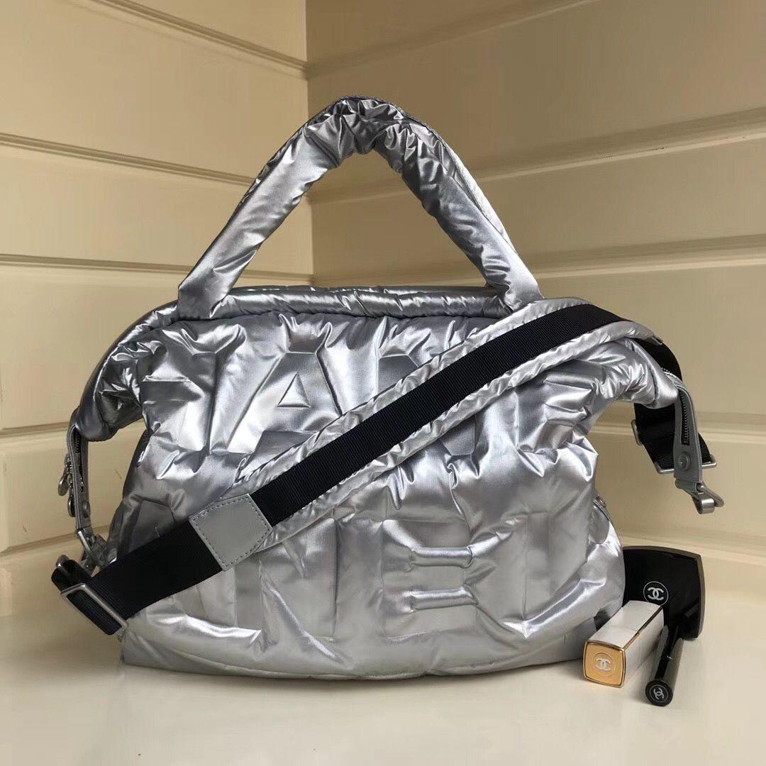 448752f068e0 Chanel Embossed Nylon Doudoune Bowling Bag A91937 Silver 2018 | Buy ...