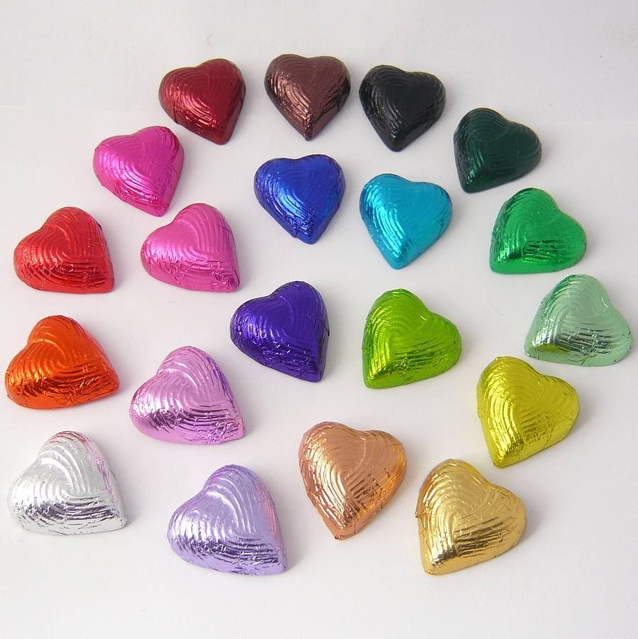 Foiled Chocolate Hearts Are A Cute And Relatively Inexpensive Favor Idea
