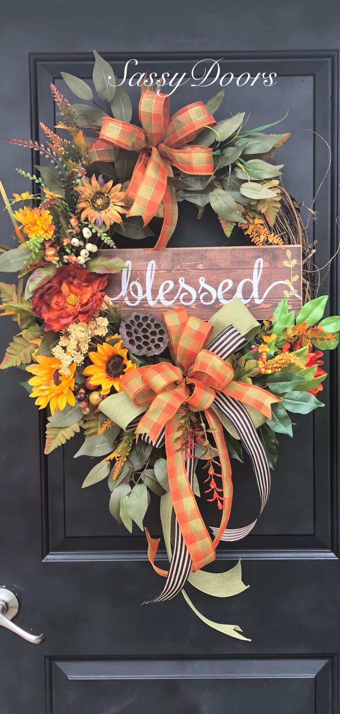 Photo of Autumn wreath – sunflower wreath – pumpkin wreath – grapevine – wreath – cheeky door wreath – autumn wreath – thanksgiving wreath