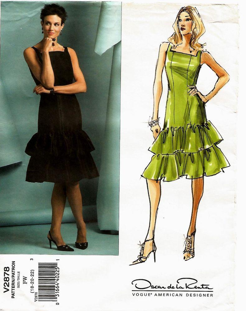 2005 Oscar de la Renta Vogue 2878 Summer Dress 18/20/22 Pattern ...