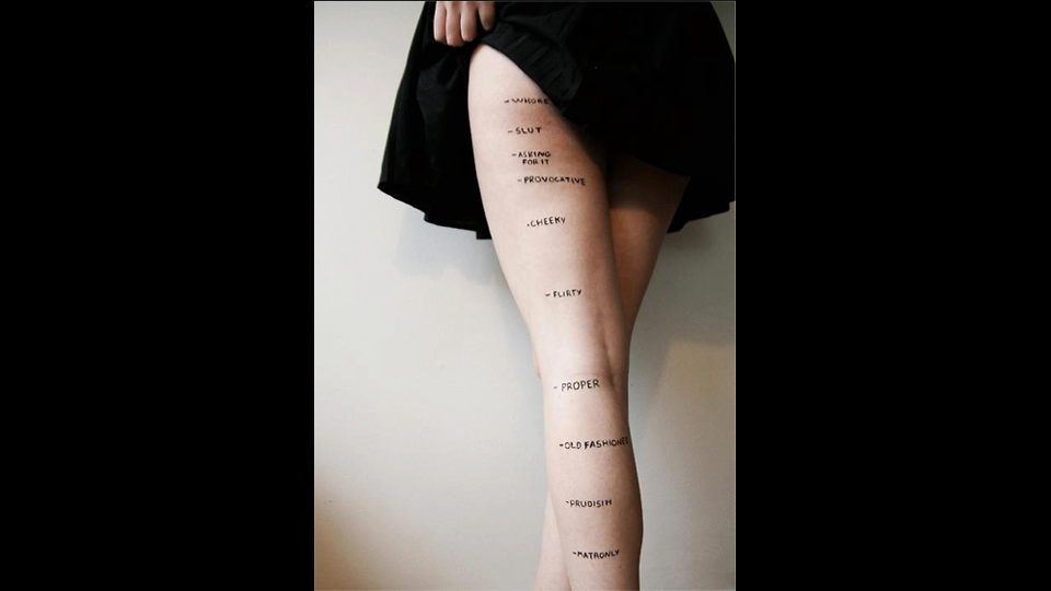 """Are You a Prude or a Slut? A Handy Guide to Proper Skirt Length - """"powerful commentary that demonstrates the ridiculous amounts of pressure women are under to dress and look a certain way."""""""
