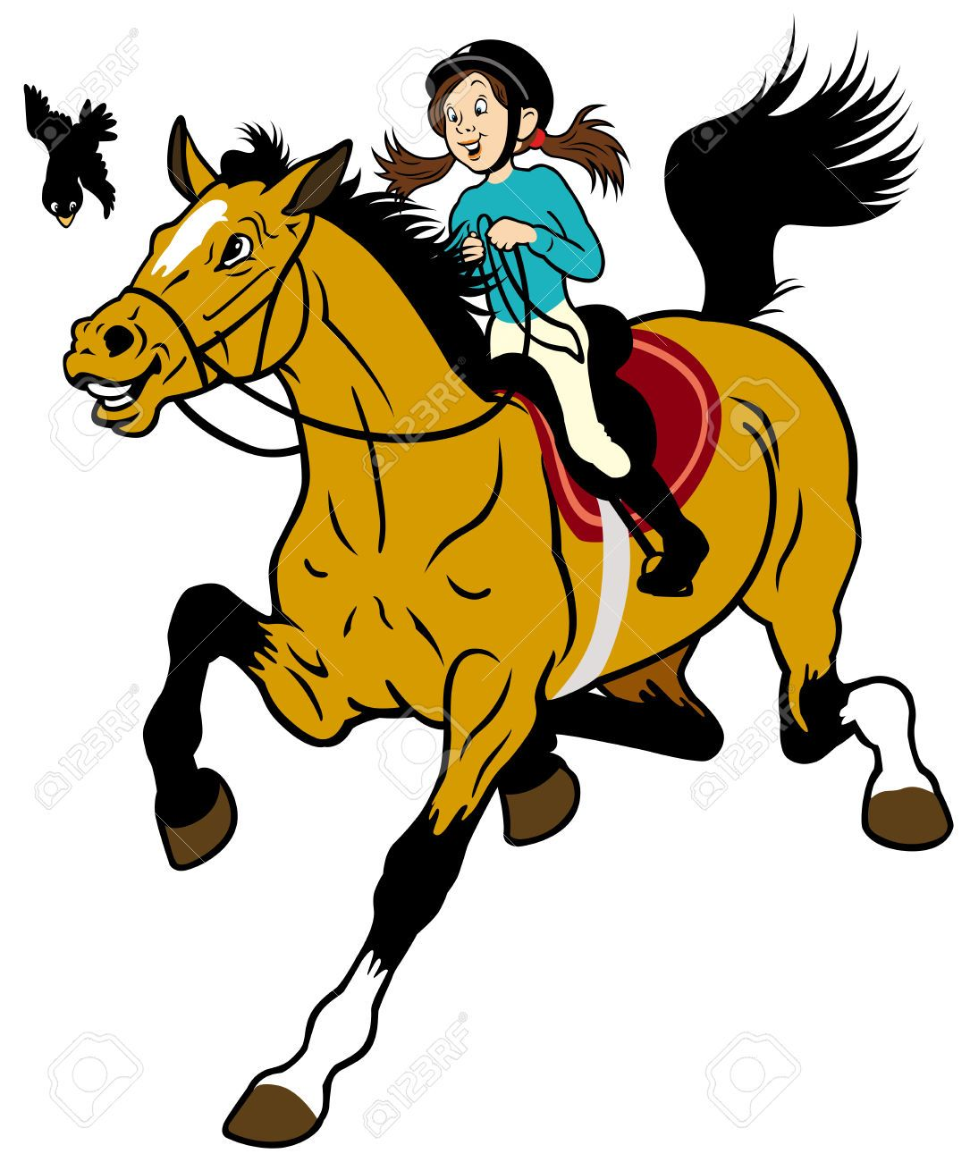 Pony Clipart Female Horse And Jockey At Getdrawings Girl Cartoon Horse Posters Children Illustration