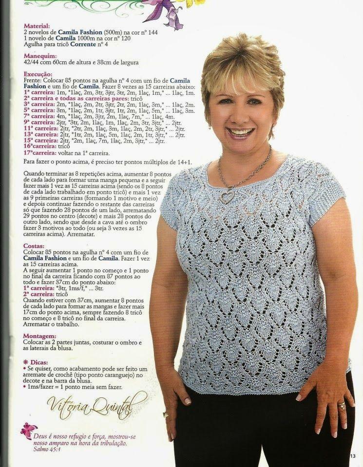 receita de tricô blusa em trico vitória quintal одежда