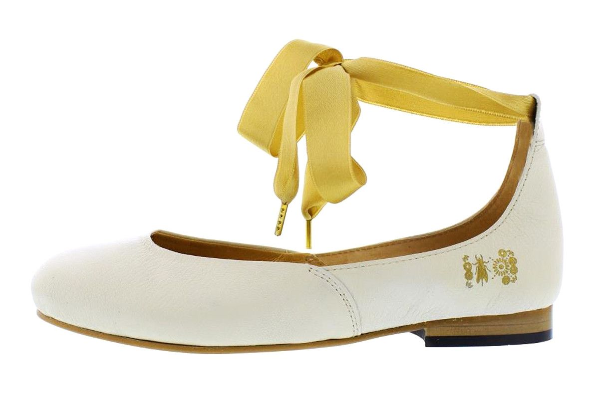5ca5f597dc81 Fly London Cristina Rodrigues Dwell 02 Off White Leather Ankle Strap Flat  Shoes