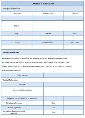 A Medical Authorization Form Is Produced When The Parent Or The