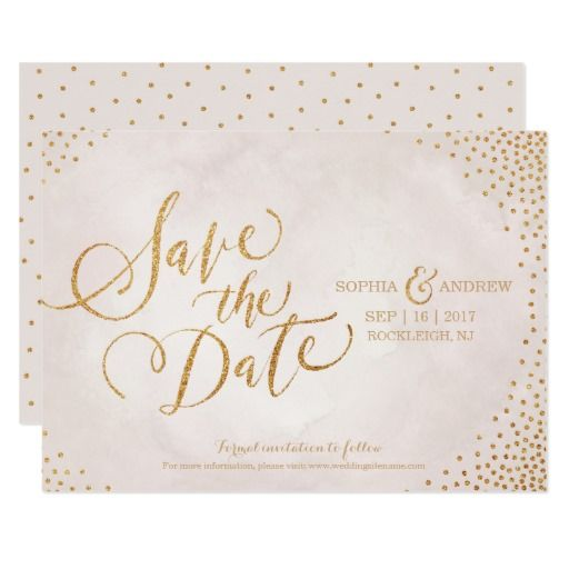 Glam blush rose gold calligraphy save the date card Gold