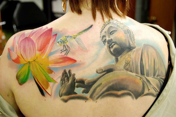 Awesome 3d lotus flower dragonfly and buddha tattoo on upperback awesome 3d lotus flower dragonfly and buddha tattoo mightylinksfo