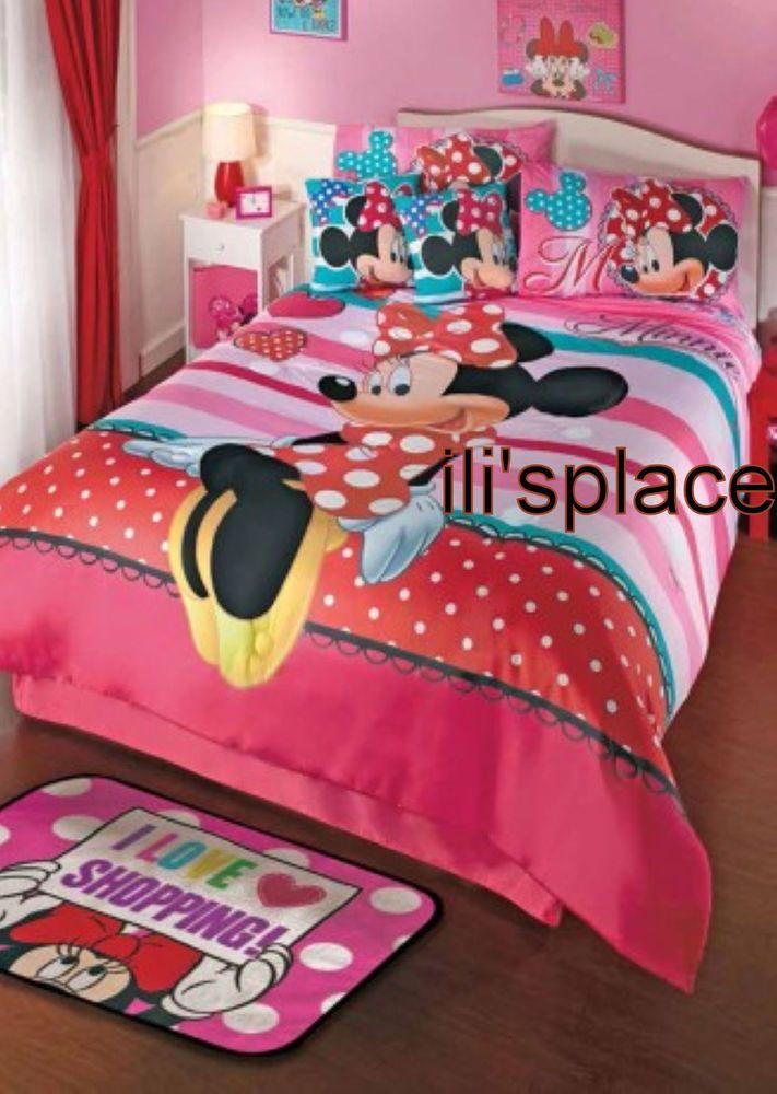 Twin Full Size Girls Disney Minnie Mouse Love Comforter Set