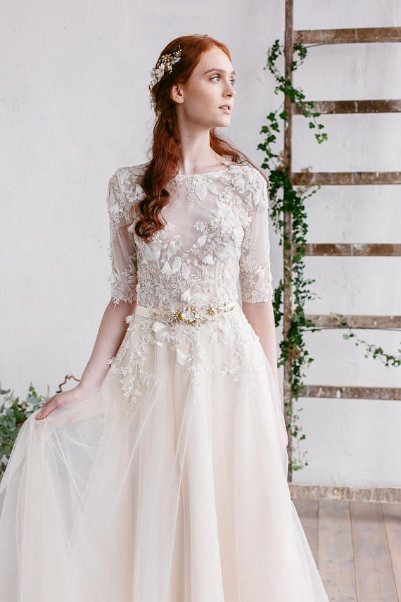 Wedding Dress , Ivory Champagne Gold Wedding Dress , Lace Wedding ...