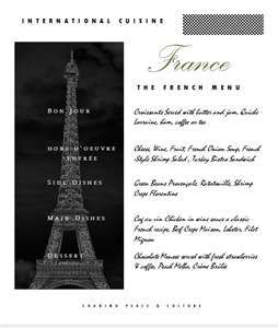 The French Menu Cover  French Merci Merci