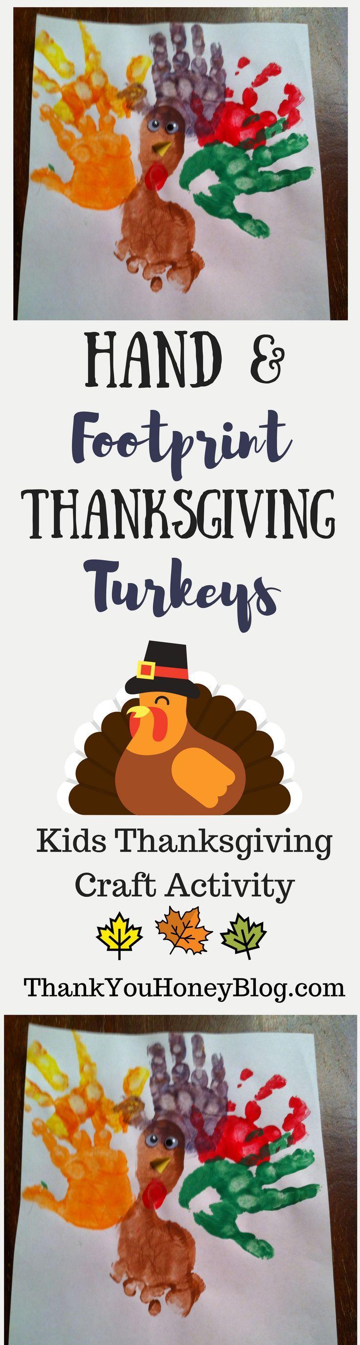 Hand & Footprint Thanksgiving Turkeys crafts. Click through & PIN IT! Follow Us on Pinterest + Subscribe to ThankYouHoneyBlog.com, DIY, Hand & Foot Print Turkeys, kids activity, Thanksgiving, Thanksgiving Kids Craft, Turkey Craft, Turkey Day, Tutorial