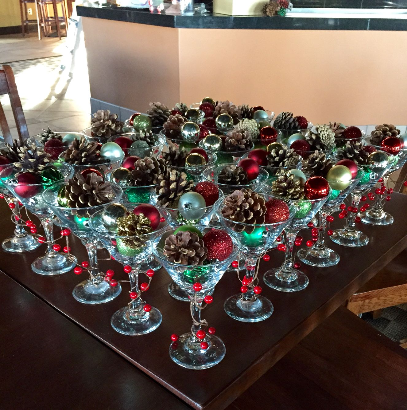 Christmas martini glass centerpiece diy my crafts