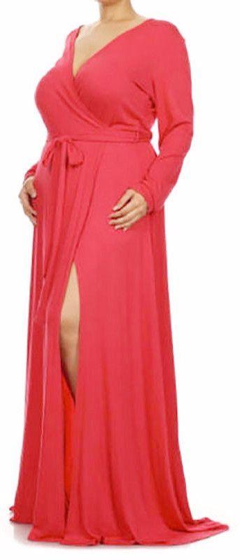 Plus Size Women V-neck High Split Maxi Dress Gender: Women Waistline: Empire…