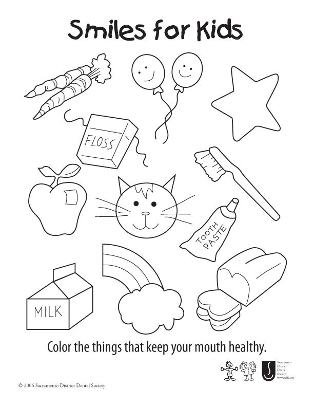 Smiles For Kids Coloring Sheet - Color the things that keep your ...