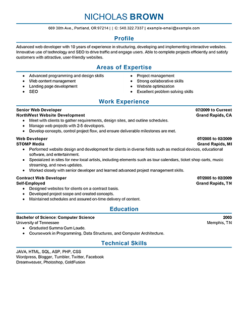 Best It Web Developer Resume Example Livecareer Career Building