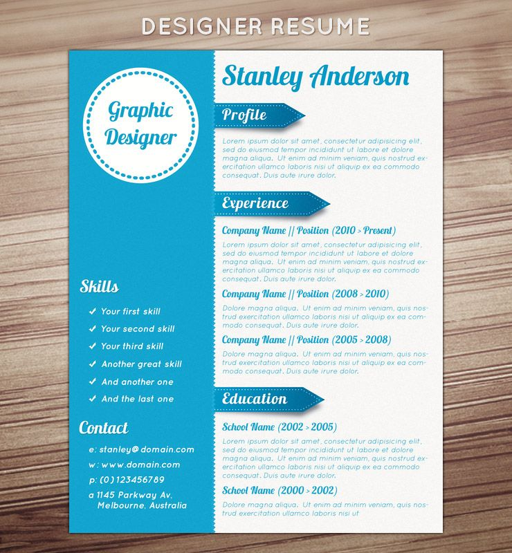 Designer Resume Template Design Job Application Layout Wood White Blue  Design