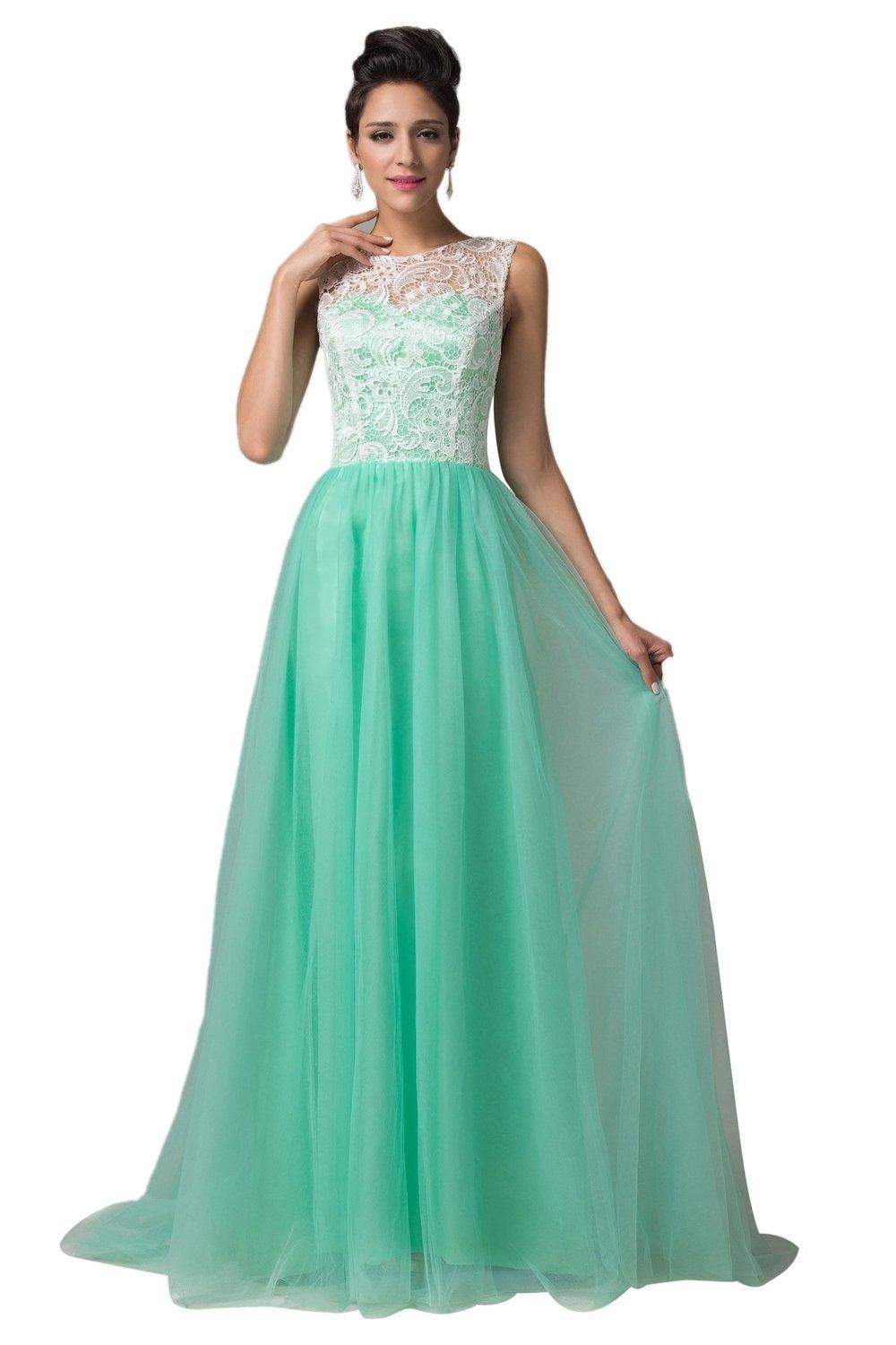 Lea Rosa Women Tulle Dress with Lace CL6108, Green, Size 6: Amazon ...