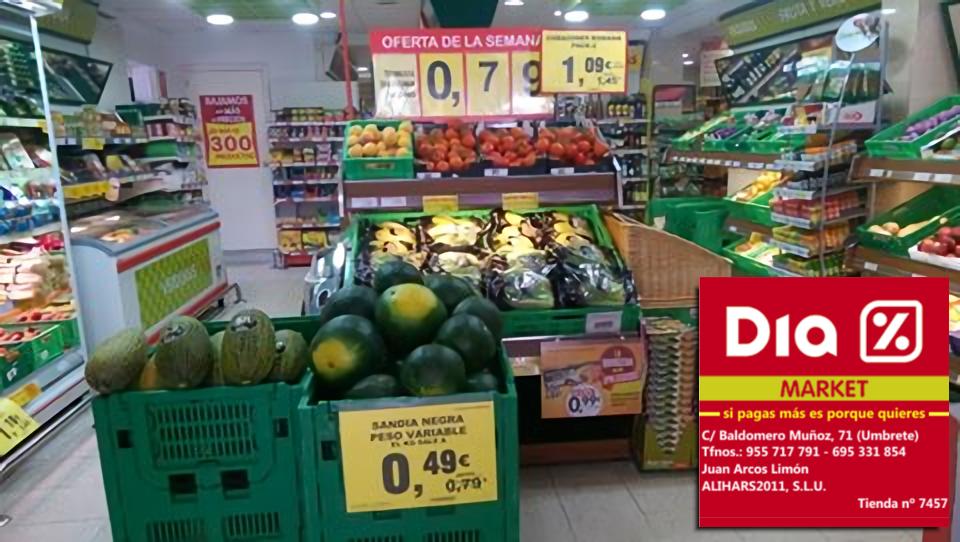 https://www.facebook.com/DIAUMBRETE/posts/579539592224524 ¡MIRAD QUÉ OFERTAS EN DIA% MARKET UMBRETE! * Sandía: 0,49 €/Kilo * 3 Latas de atún en aceite de Oliva: 0,99 €/Kilo * Tomate en rama 0,79 €/Kilo ...y 250 OFERTAS MÁS!!! ¡Aprovéchalas! :)