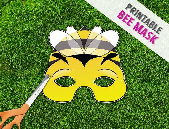 Printable halloween mask photo booth prop printable bee mask bee mask printable mask photo prop bug mask by therasilisk maxwellsz