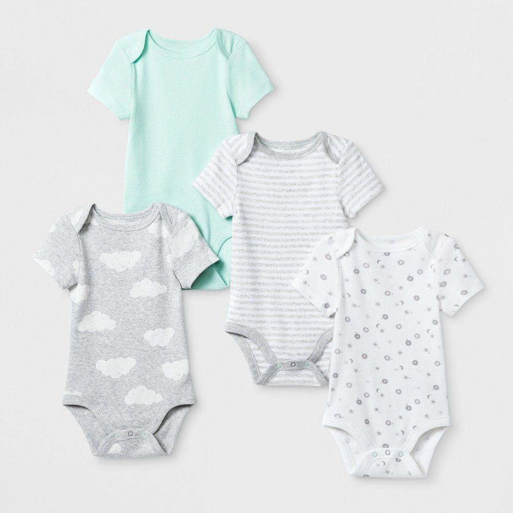4f8b794a7d1 Baby Boys  In the Clouds 4pk Shorts sleeve Bodysuit - Cloud Island Mint  Newborn