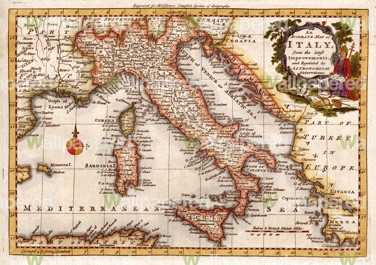 antique map of italy on this has all