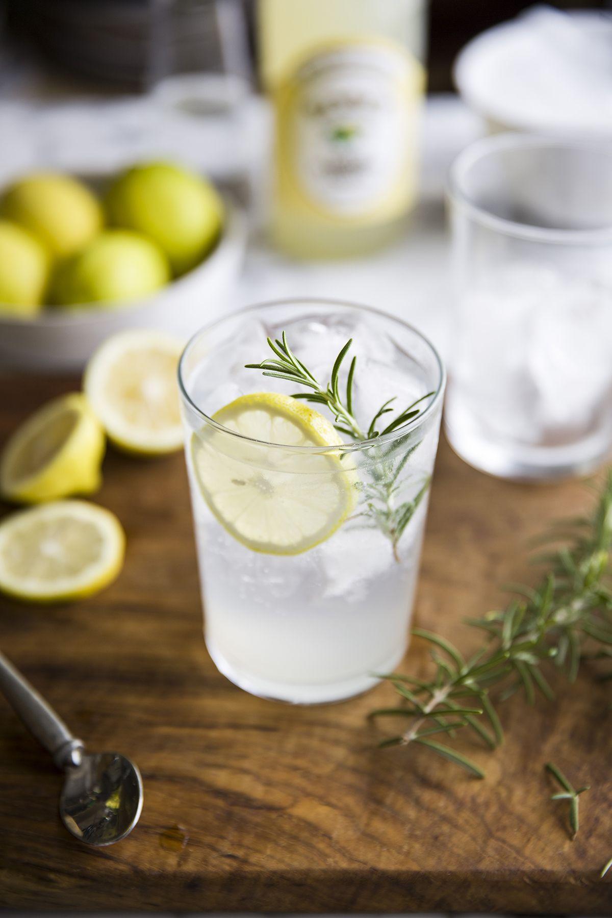 gin & tonic with lemon cordial & rosemary Gin, tonic