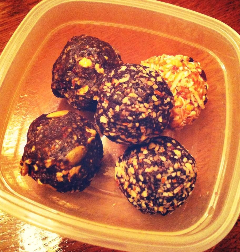 Peanut butter balls - 1 cup of rolled oats, 3/4c natural chunky PB, 1/3 cup honey, 1/2 cup ground flax, 1/4 cup almond meal, 1/2 cup unsweetened shredded coconut, 1/3 cup toasted sesame seeds, 1/2 cup cocoa nibs, 1 scoop of vanilla protein powder Date and almond ball - 2 cups medjool dates, 2 cups raw almonds, 1/4 cup dark cocoa powder, 1 scoop chocolate protein, 1/2 cup coconut, 1tbsp coconut oil, 1tbsp vanilla (food process and roll)