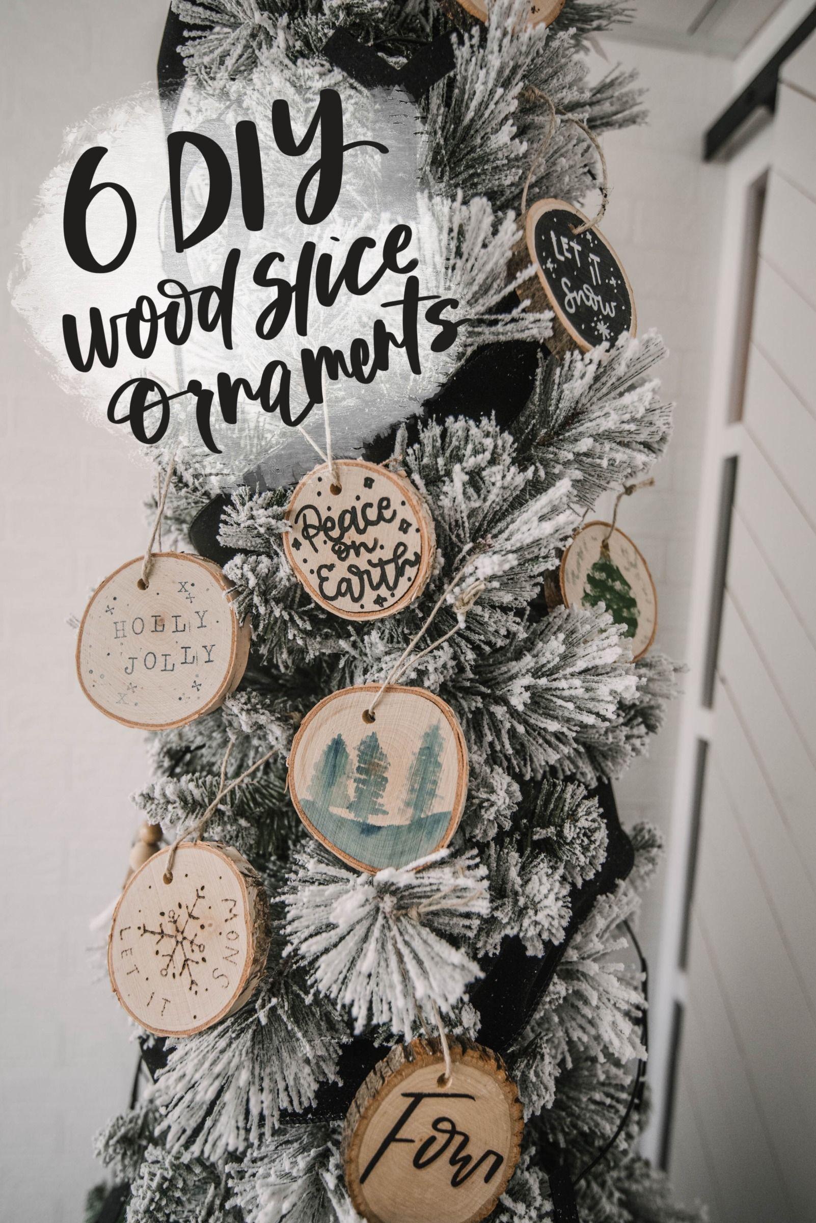 6 Diy Wood Slice Ornaments Lemon Thistle Wood Slice Ornament Diy Christmas Ornaments Christmas Tree Painting
