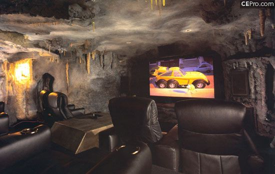 Bat cave/ theater room in the basement....making it happen!