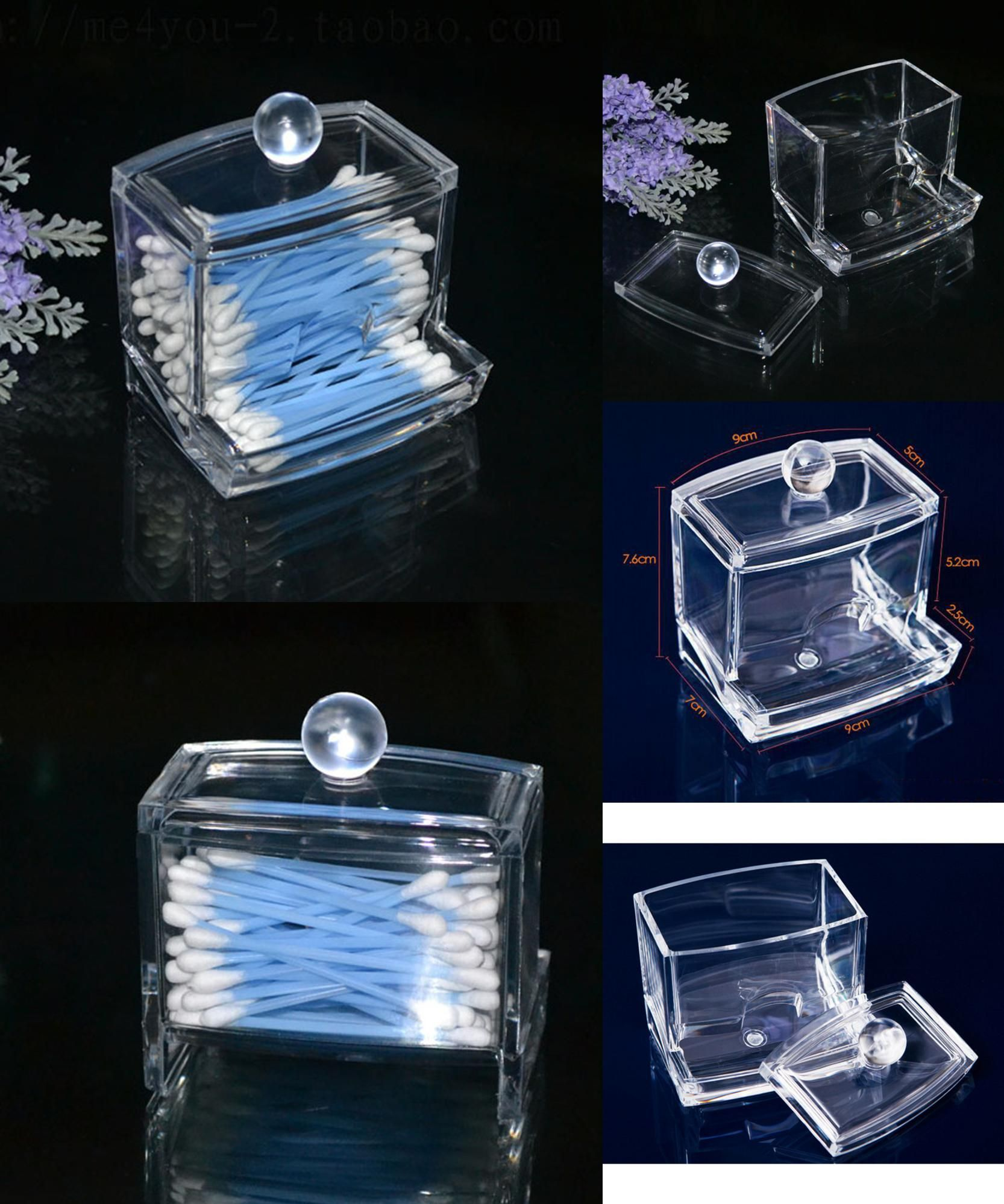 [Visit to Buy] 1PCS Creative Clear Acrylic Q-Tip Storage Holder Box  Transparent