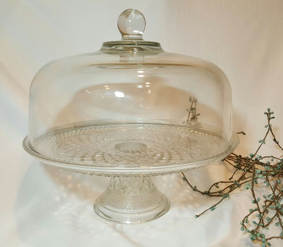 Antique cake plate or stand cake stand with dome lid