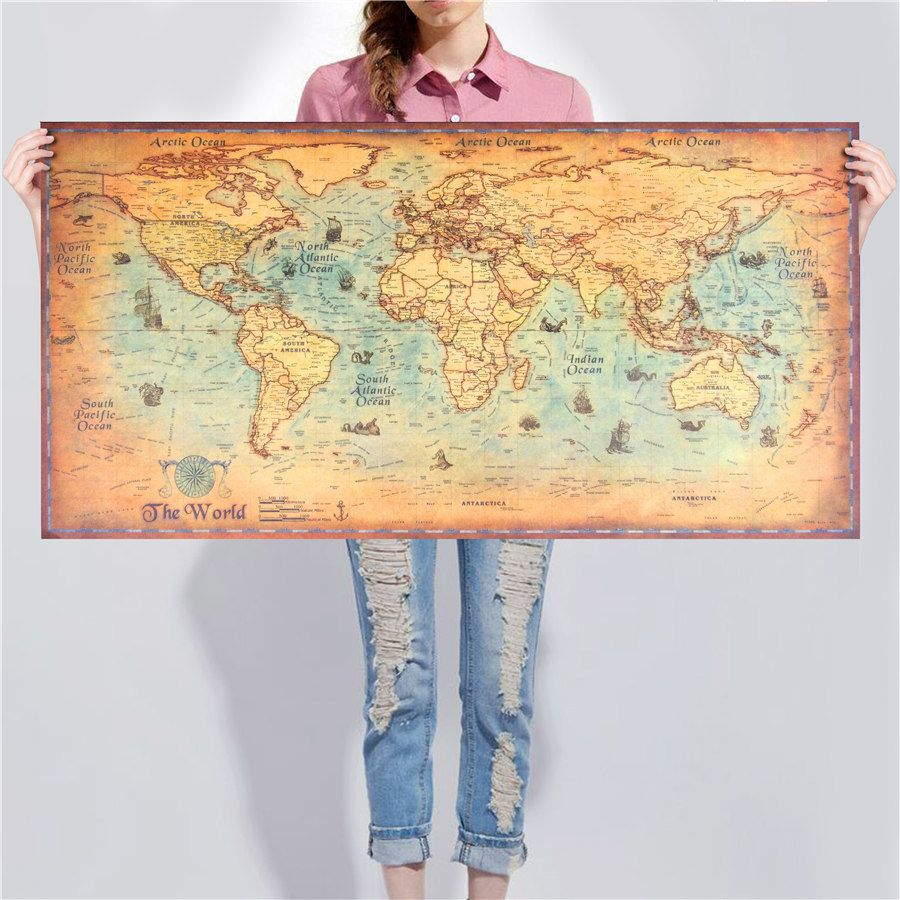 Vintage World Map Kraft Paper Wall Sticker Poster Price 3 38