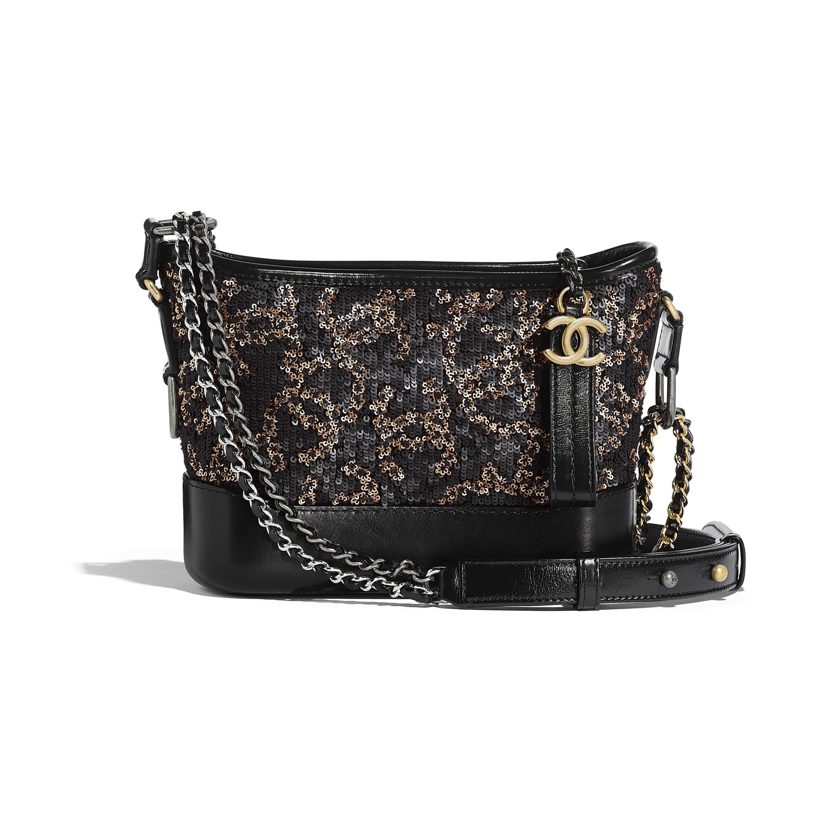 f92889300b18bc Chanel - PRE SS2019   Black & gold sequins, calfskin gold-tone &  silver-tone metal Chanel's Gabrielle Small Hobo bag ($5,100)