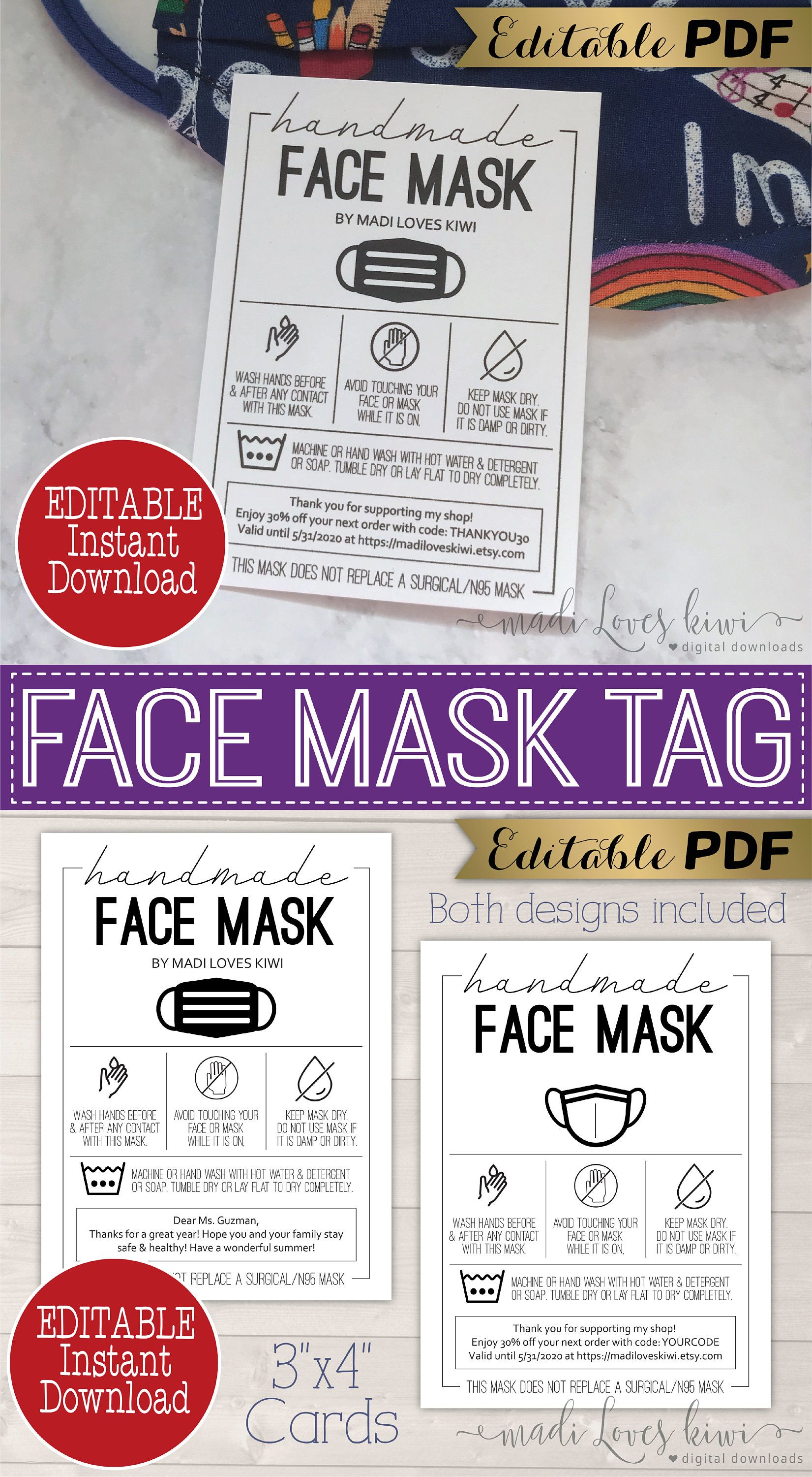 Editable Face Mask Care Card Inserts Printable Facemask Etsy In 2021 Tag Template Face Mask