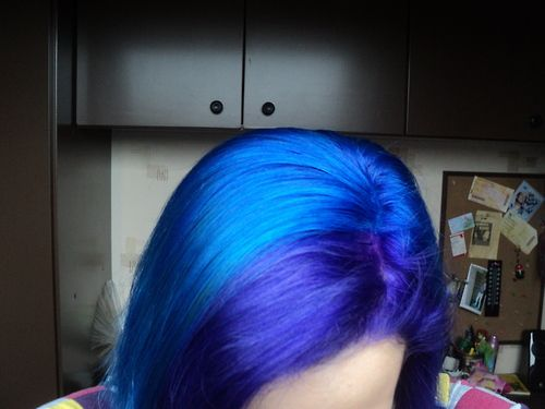 blue hair with directions hair dye