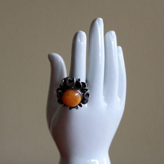Vintage White Ceramic Hand Jewelry Stand Ring by FullCircleRetro, $18.00