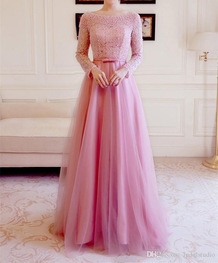 Stunning Evening Dresses Long Sleeves Lace With Beading Sweep Train ...