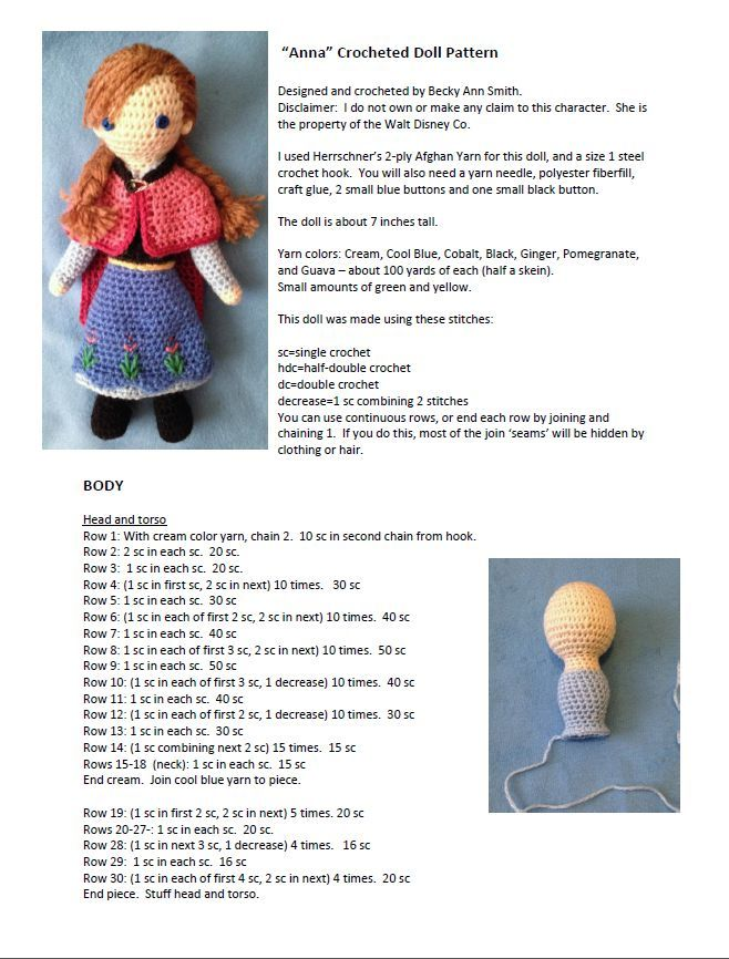 PATRON GRATIS ANNA (FROZEN) AMIGURUMI 9499 | Projects to Try ...