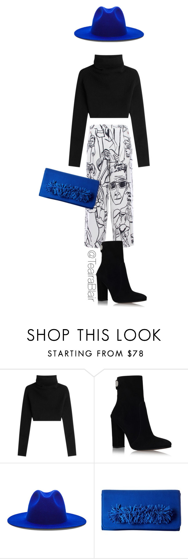 """LITTLE POP OF BLUE."" by teairablair ❤ liked on Polyvore featuring Valentino, Emilio Pucci, Gianvito Rossi, Études and Steve Madden"