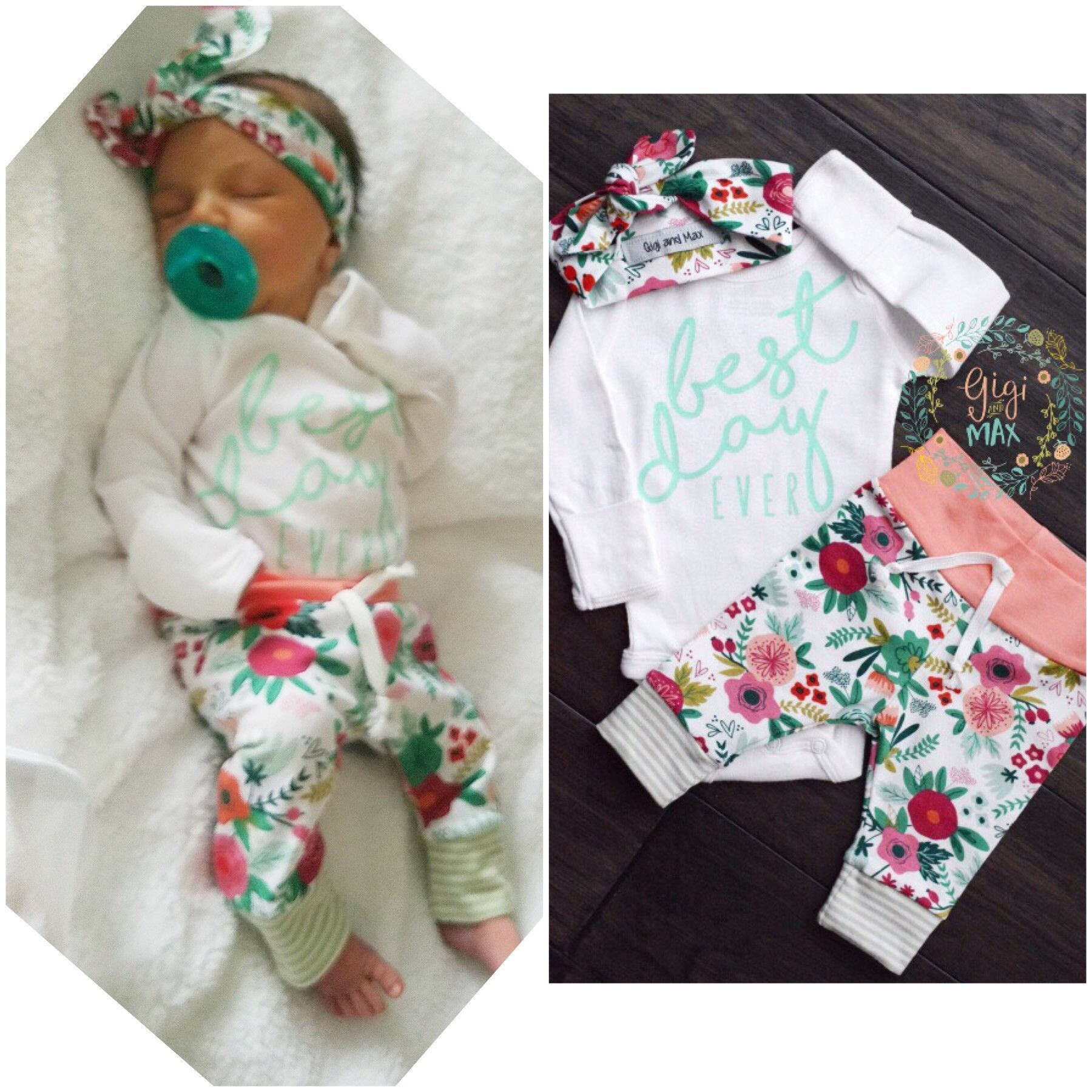 Coral Floral BEST DAY Ever Newborn Outfit